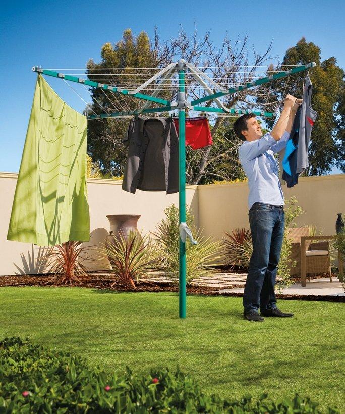 get hills rotary 6 washing line forest glade green. Black Bedroom Furniture Sets. Home Design Ideas